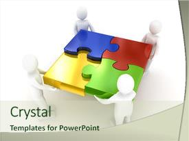 Colorful presentation theme enhanced with puzzle over white background 3d backdrop and a soft green colored foreground.