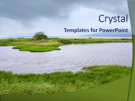 PPT theme having quiet sea side - river and green grass background and a sky blue colored foreground