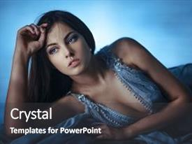 Beautiful PPT layouts featuring night dress - racial asian caucasian sexy female backdrop and a dark gray colored foreground.