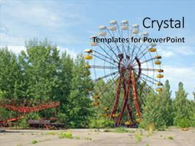 Slide deck enhanced with radioactive isotopes - abandoned ferris wheel background and a light blue colored foreground