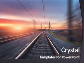 5000 railway powerpoint templates w railway themed backgrounds ppt theme having railway railroad in motion at sunset background and a dark gray colored toneelgroepblik Choice Image