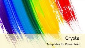 PPT layouts with rainbow - abstract acrylic hand painted background background and a blonde colored foreground
