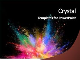 Cool new presentation design with rainbow - explosion of coloured powder isolated backdrop and a black colored foreground