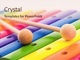 PPT theme having rainbow colored wooden toy xylophone background and a lemonade colored foreground