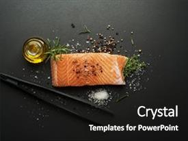 PPT layouts featuring raw steak of salmon fish with spices and herbs on black background background and a black colored foreground