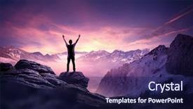 Presentation theme enhanced with reaching up into the sky background and a navy blue colored foreground