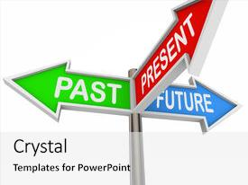 Amazing PPT theme having reading past present and future backdrop and a white colored foreground.