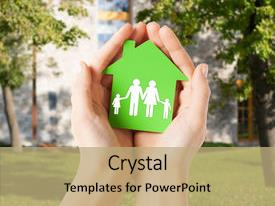 Presentation featuring real estate and family home background and a  colored foreground.