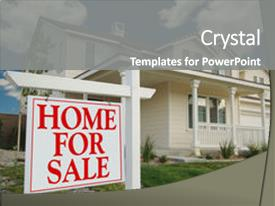 PowerPoint Template a person with the house for sale and bluish