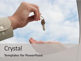 Theme with real estate - man giving keys to woman background and a light gray colored foreground.