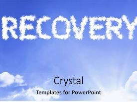 PPT theme with recovery cloud word background and a light blue colored foreground