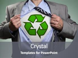 PPT theme having recycle - businessman in classic superman pose background and a gray colored foreground.