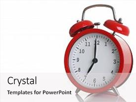 Cool new presentation design with red alarm clock isolated on white background shows seven o clock in the morning time to get up to wake up and have breakfast morning or evening run to go to work 7 am pm backdrop and a white colored foreground.