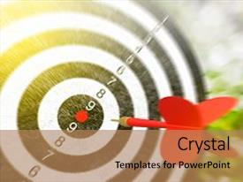 Presentation enhanced with red arrows hitting the target metaphor to target marketing or target arrow concept selective focus 3d render background and a coral colored foreground.