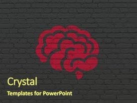 Slide deck featuring red brain icon on black background and a tawny brown colored foreground.