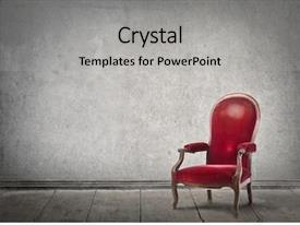 Presentation theme having red chair in an empty background and a light gray colored foreground