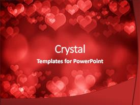 Colorful PPT layouts enhanced with red glowing heart shaped bokeh backdrop and a crimson colored foreground.