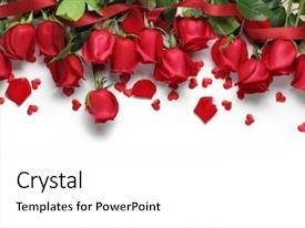 Amazing PPT layouts having red roses and heart shape backdrop and a white colored foreground