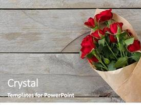 Beautiful PPT theme featuring red roses wrapped in paper backdrop and a gray colored foreground