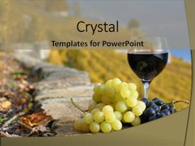 Powerpoint template red wine in bottle and glass with a bunch of colorful theme enhanced with red wine and grapes backdrop and a coral colored foreground toneelgroepblik Images