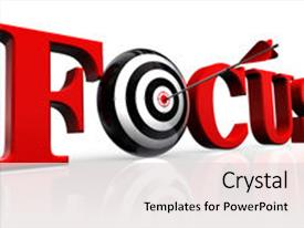 Colorful PPT theme enhanced with red word and conceptual target backdrop and a light gray colored foreground.