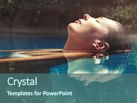 PPT layouts enhanced with relaxing in the pool water background and a ocean colored foreground.