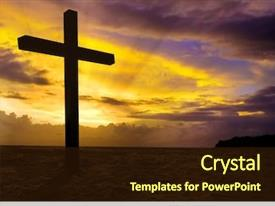Amazing slide deck having religious - christian cross on sunset background backdrop and a wine colored foreground