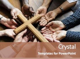 PPT layouts enhanced with religious - group of christianity people praying background and a coral colored foreground