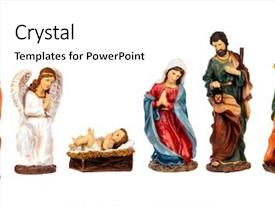 PPT theme with religious - image figures for the nativity background and a cream colored foreground