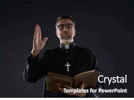 Presentation with religious - priest male blessing hand background and a black colored foreground
