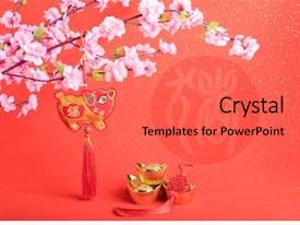 Chinese New Year Ornament Gold Powerpoint Templates W