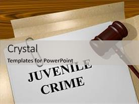 Cool new presentation with render illustration of juvenile crime backdrop and a light gray colored foreground.