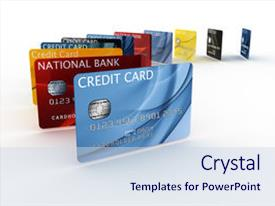 Slide deck featuring rendering of a credit card background and a sky blue colored foreground.