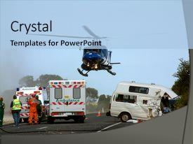 Presentation featuring rescue team - road accident scene helicopter lifts background and a light blue colored foreground.