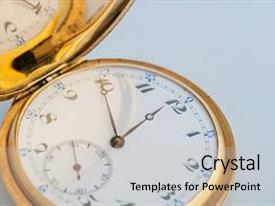 PPT theme consisting of retro vintage pocket gold watch with an open lid background and a light gray colored foreground