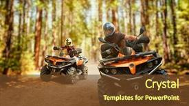 Slides with riders speed race in forest background and a tawny brown colored foreground