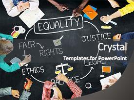 PPT theme featuring rights balance fair justice ethics background and a dark gray colored foreground.