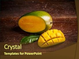 Slide set with ripe mango fruit with leaf background and a  colored foreground.