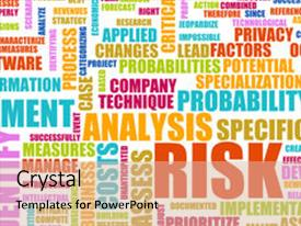 PPT layouts having risk analysis concept word cloud as background background and a coral colored foreground