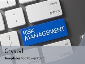 Presentation theme featuring risk management concept modern keyboard background and a  colored foreground.