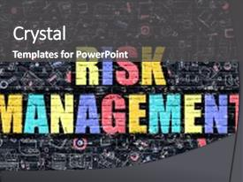 Cool new PPT theme with risk management concept risk management backdrop and a dark gray colored foreground.
