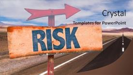 Beautiful slide deck featuring risk sign with road background backdrop and a light blue colored foreground