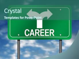 Presentation theme with road sign with career background and a ocean colored foreground.