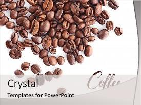 Amazing PPT theme having roasted coffee beans on white backdrop and a light gray colored foreground.