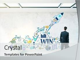 Amazing PPT layouts having rocket ship sketch leadership backdrop and a  colored foreground.