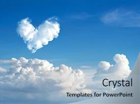 Audience pleasing presentation design consisting of romantic heart cloud abstract blue backdrop and a light blue colored foreground.