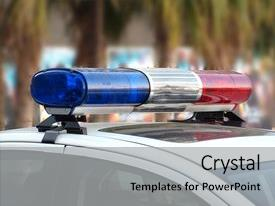PPT theme consisting of roof-mounted lightbar of an emergency vehicle background and a light gray colored foreground