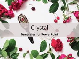 Audience pleasing slide deck consisting of roses on a white background backdrop and a light gray colored foreground