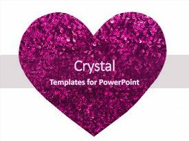 Presentation design featuring heart - round glitter pink sequin background and a violet colored foreground