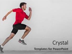 Beautiful PPT theme featuring doing outdoor city run sprint backdrop and a light gray colored foreground.
